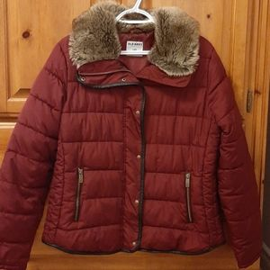 Quilted Puffer Coat with Faux Fur Collar